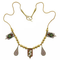 Egyptian Revival Silver Gilt Necklace with Micromosaic Drops