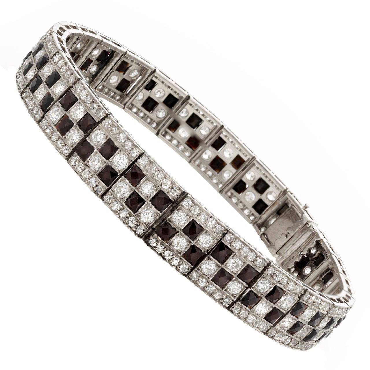 Art Deco Platinum Onyx and Diamond Checkerboard Line Bracelet