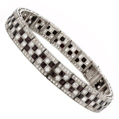 Art Deco Platinum Onyx and Diamond Checkerboard Line Bracelet