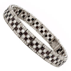 Past Era Art Deco Onyx Diamond Platinum Checkerboard Line Bracelet