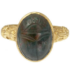 Victorian Carved Bloodstone Scarab Ring