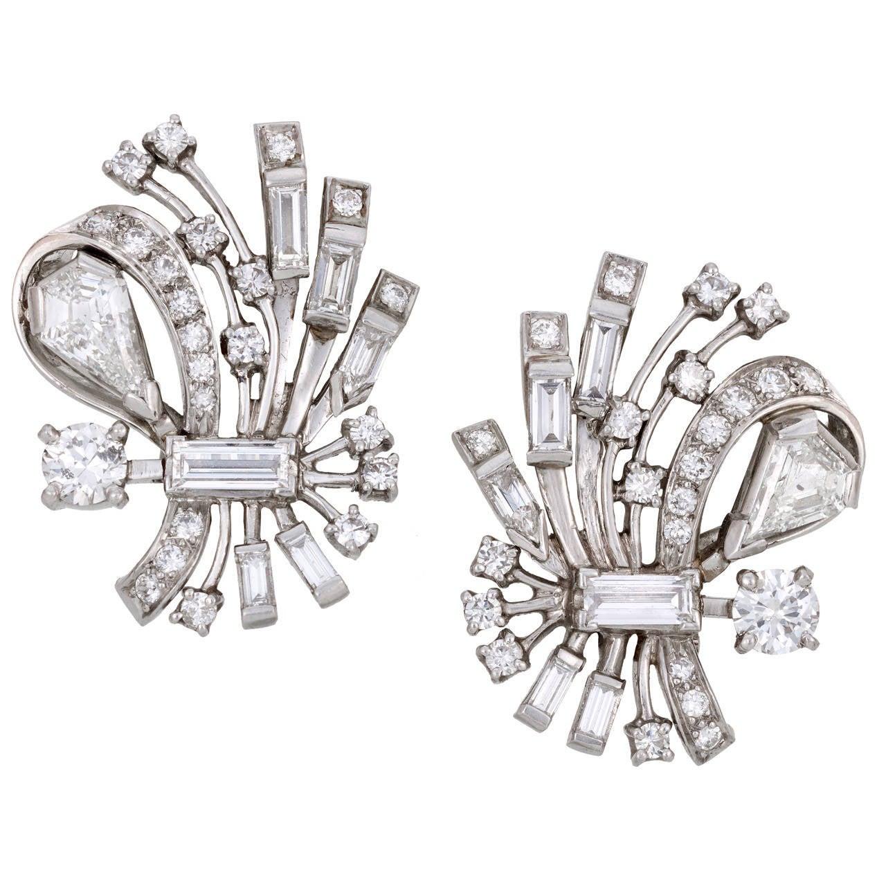 Past Era Art Deco Diamond Platinum Stylized Bouquet Earrings 1