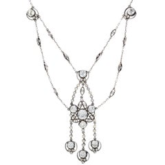Late Victorian Sparkling Paste Sterling Silver Swag Necklace