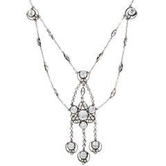 Past Era Late Victorian Sparkling Paste Sterling Silver Swag Necklace