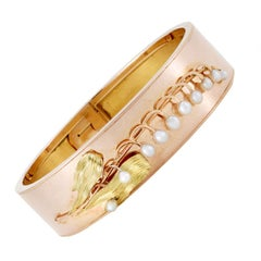 Napoleon III 18K Rose Gold and Pearl Lily-of-the-Valley Bangle