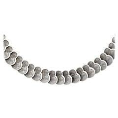 Past Era German Sterling Silver Leaf Collar Necklace
