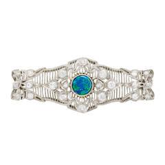 Past Era Art Deco Black Opal Diamond Gold Filigree Pin