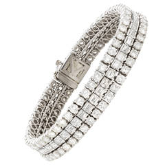 French Baguette and Round Brilliant Diamond Gold Platinum Bracelet