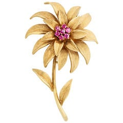 Past Era 1950s Tiffany & Co. Ruby Flower Pin