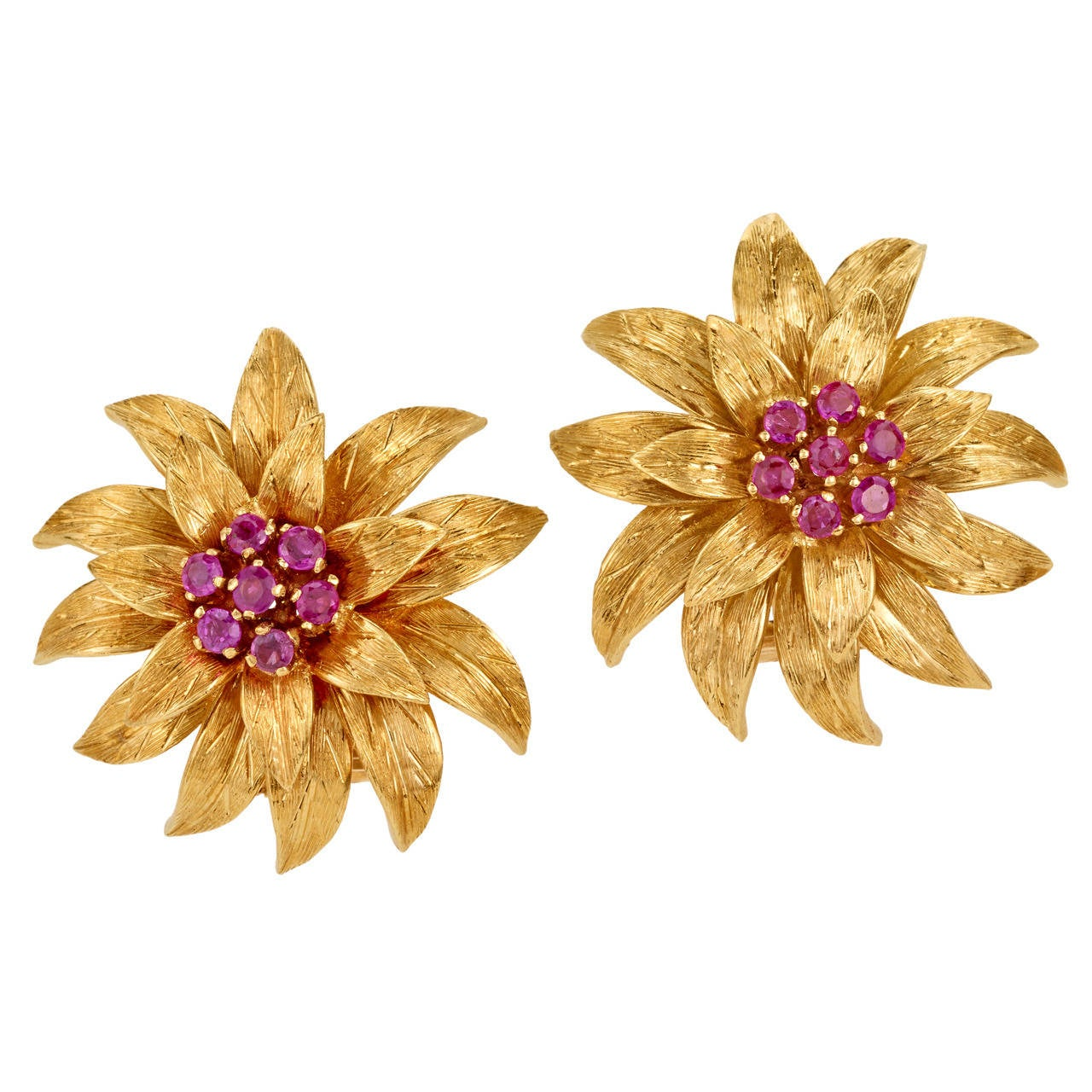 Tiffany Co Ruby Gold Flower Earrings For