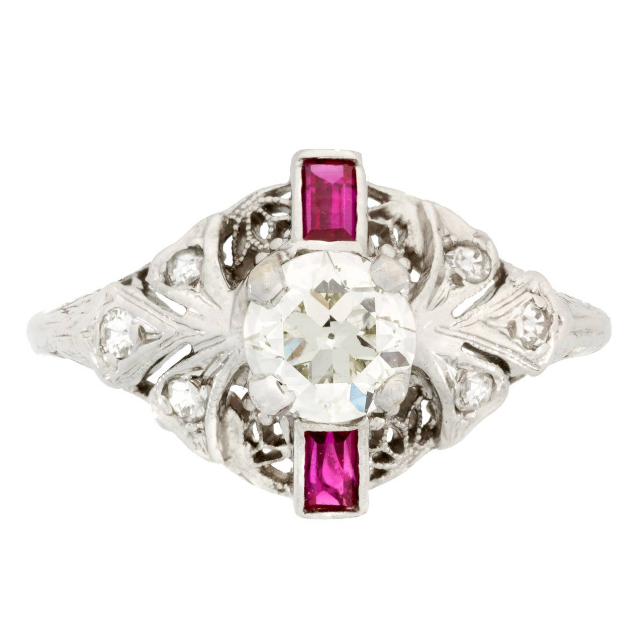 Art Deco Ruby Diamond Gold Filigree Engagement Ring at 1stdibs