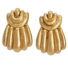 Past Era David Webb Gold Clip Earrings