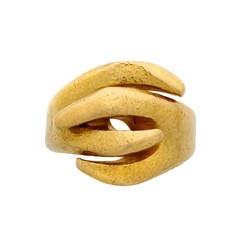 Past Era Lalaounis Textured Gold Ring