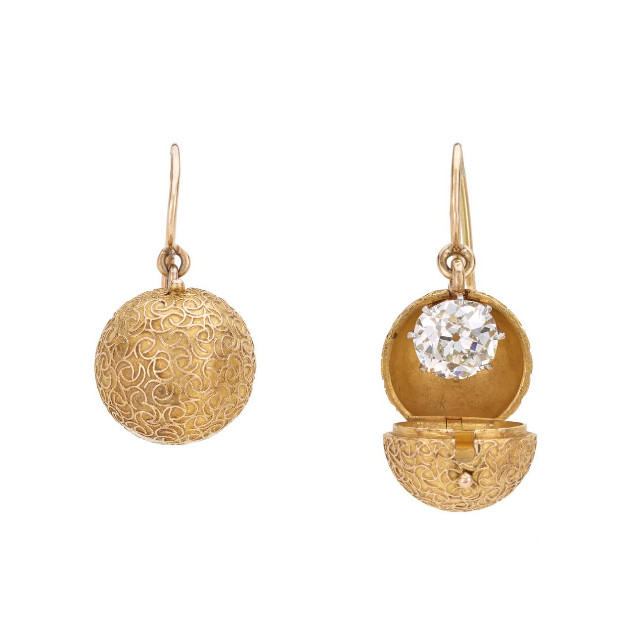 Past Era Victorian Dia Gold Dormeuse Earrings with Etruscan Revival Coach Cove For Sale