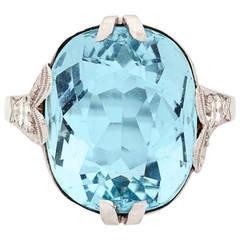 Past Era Art Deco Aquamarine Diamond Gold Cocktail Ring