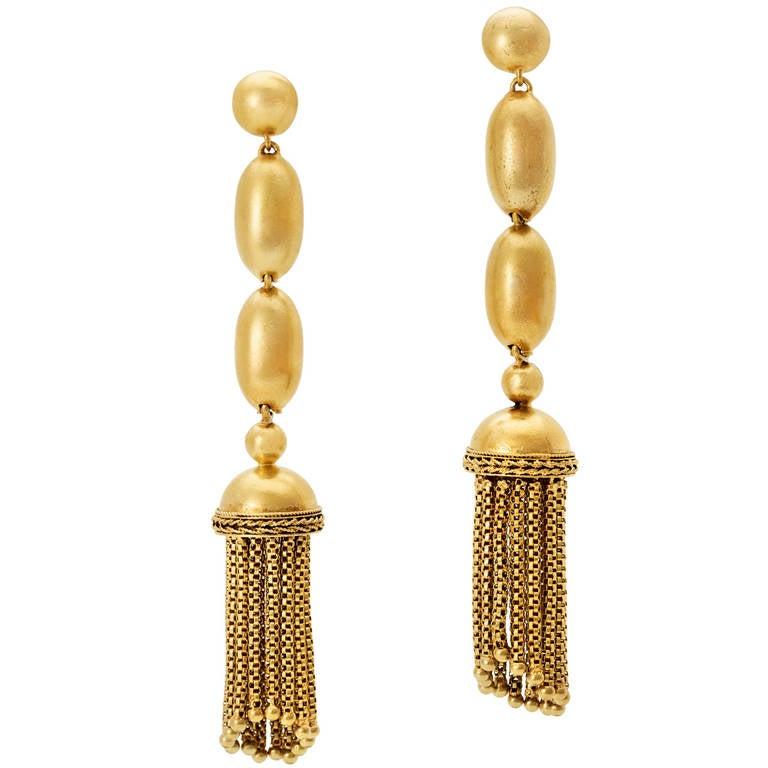 Past Era Victorian Gold Bead and Tassel Drop Earrings