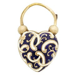 Early Victorian Blue and White Enamel Gold Heart Padlock with Locket