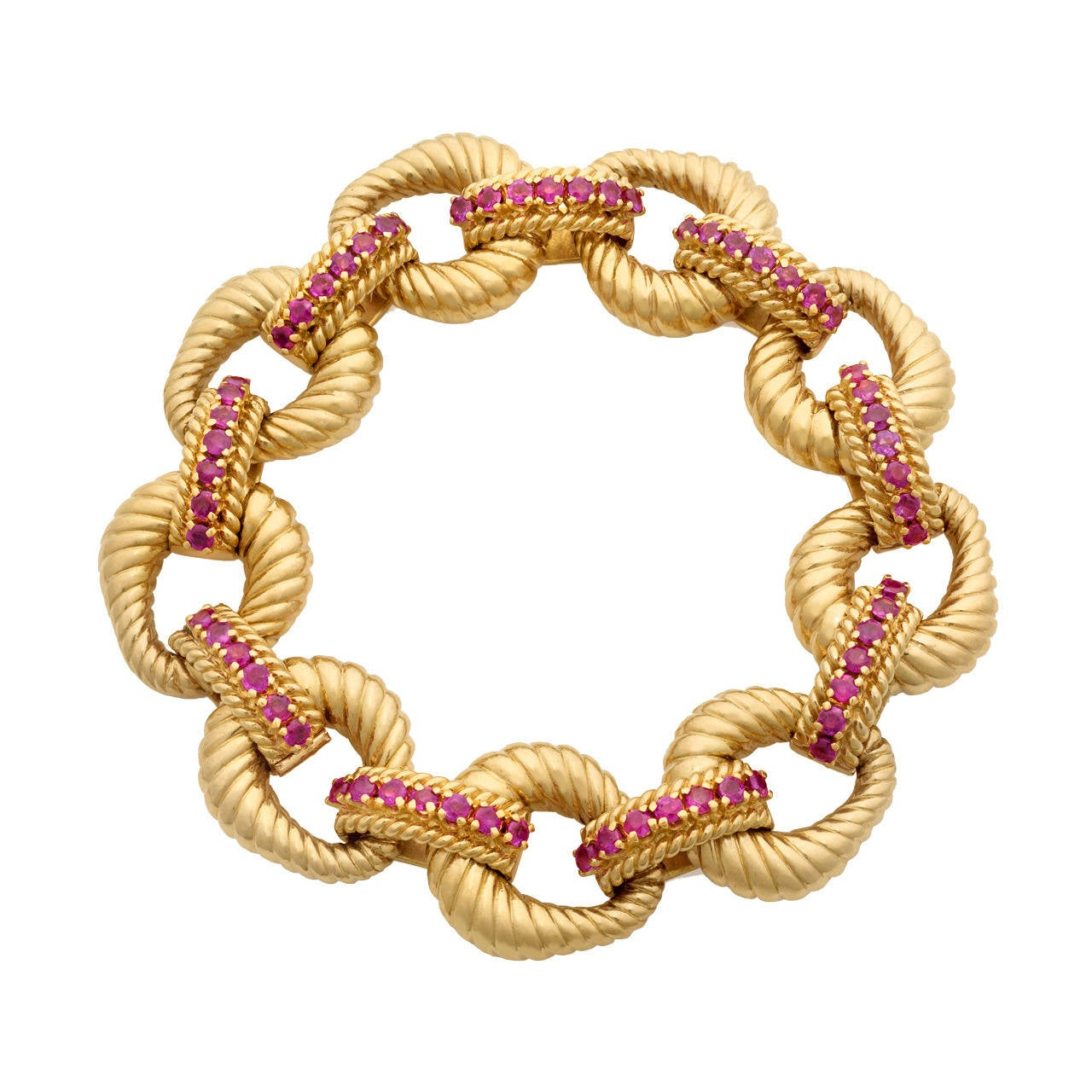 Tiffany & Co. 18k Yellow Gold Heavy Link Bracelet with Rubies