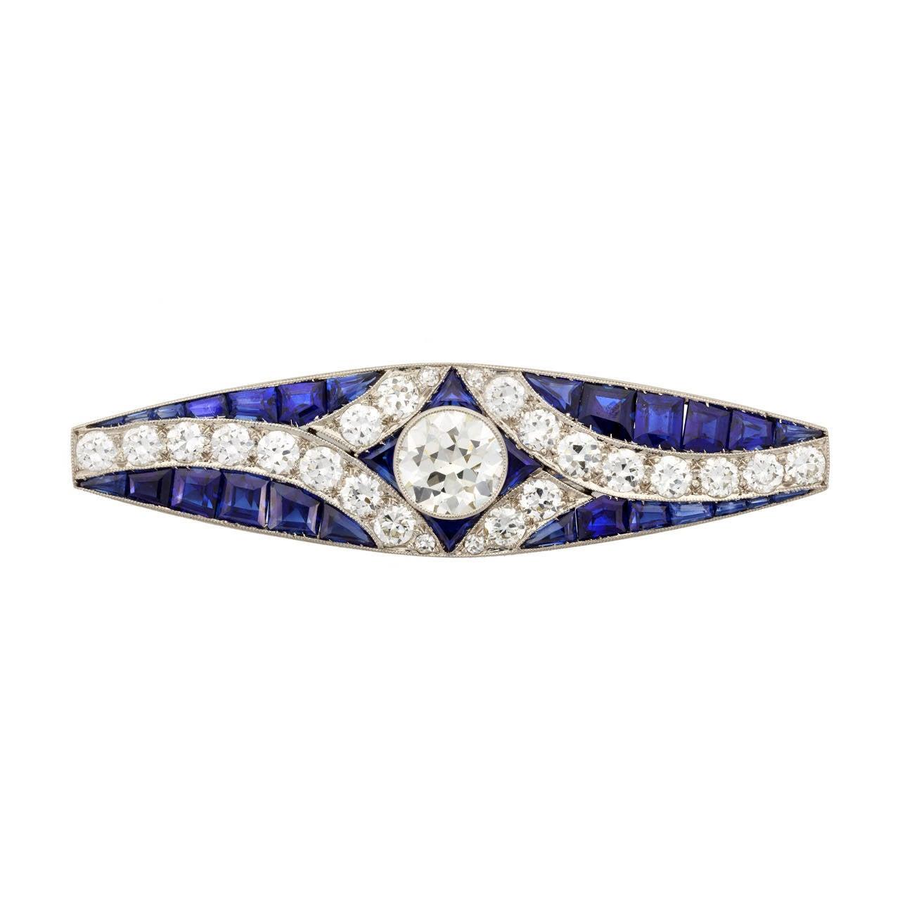Art Deco Bar Pin with Calibre-Cut Sapphires and Diamonds