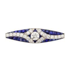 Past Era Art Deco Calibre-Cut Sapphire Diamond Bar Pin