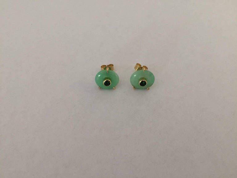 Contemporary Ana De Costa Circular Green Jade Tsavorite Yellow Gold Stud Earrings For Sale