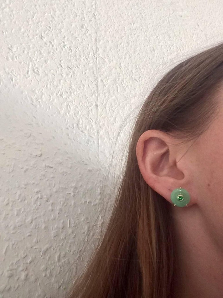 Ana De Costa Circular Green Jade Tsavorite Yellow Gold Stud Earrings For Sale 1