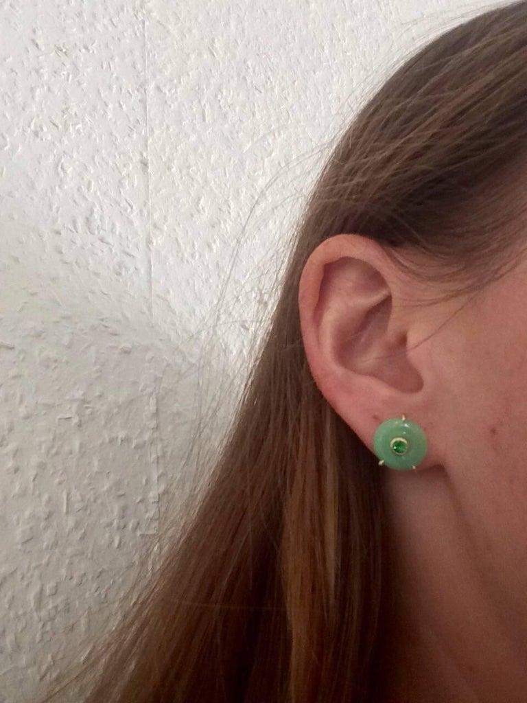 Ana De Costa Circular Green Jade Tsavorite Yellow Gold Stud Earrings For Sale 2