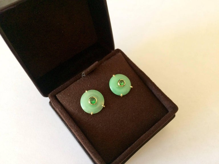 Ana De Costa Circular Green Jade Tsavorite Yellow Gold Stud Earrings For Sale 3