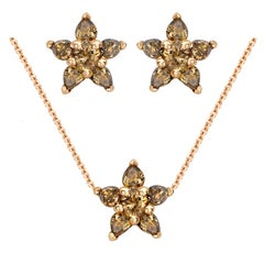 Ana de Costa 18ct Rose Gold Cognac Diamond Flower Pendant And Stud Earrings Set