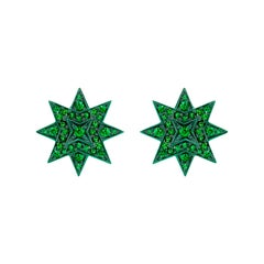 Ana de Costa Emerald Yellow Gold Star Stud Earrings
