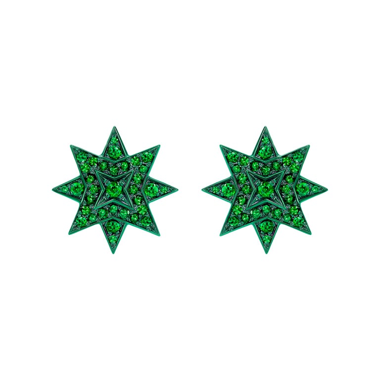 Ana de Costa Emerald Yellow Gold Star Stud Earrings