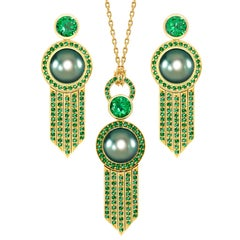 Ana de Costa Yellow Gold Tahitian Pearl Tsavorite Deco Drop Earring Drop Pendant