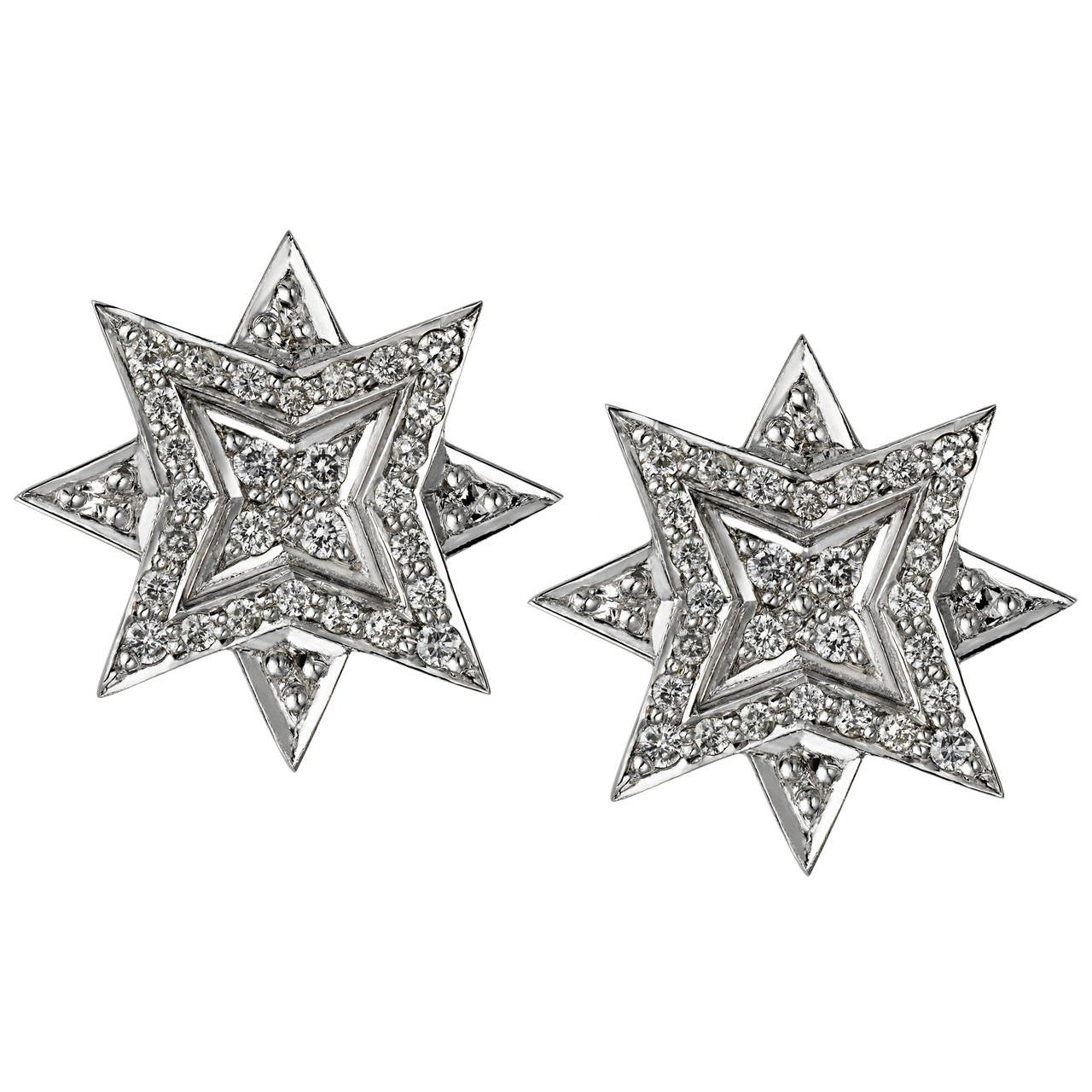 ana de costa silver white diamond star earrings at 1stdibs. Black Bedroom Furniture Sets. Home Design Ideas