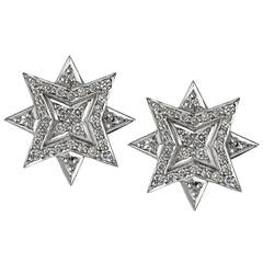 Ana De Costa Silver White Diamond Star Earrings