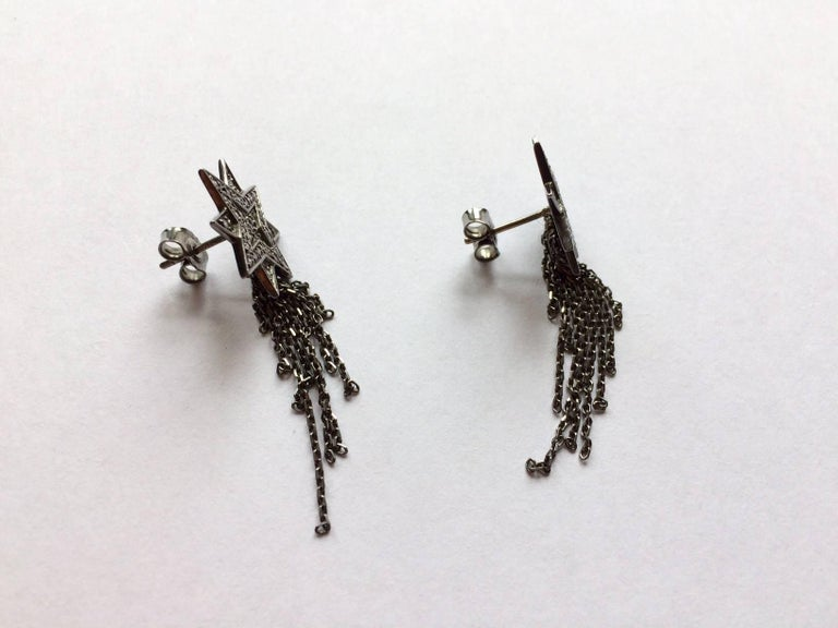 Ana De Costa Blackened Gold Diamond Star Earrings 4