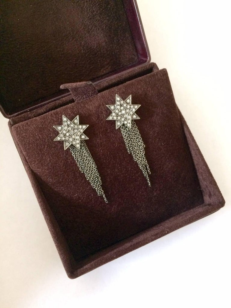 Ana De Costa Blackened Gold Diamond Star Earrings 9