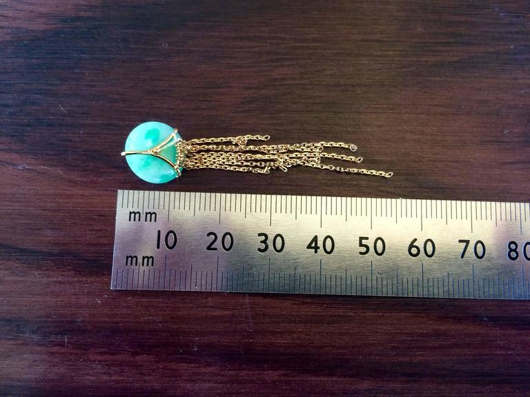 Contemporary Ana De Costa Yellow Gold Round Green Diamond Green Jade Circular Disc Earrings For Sale