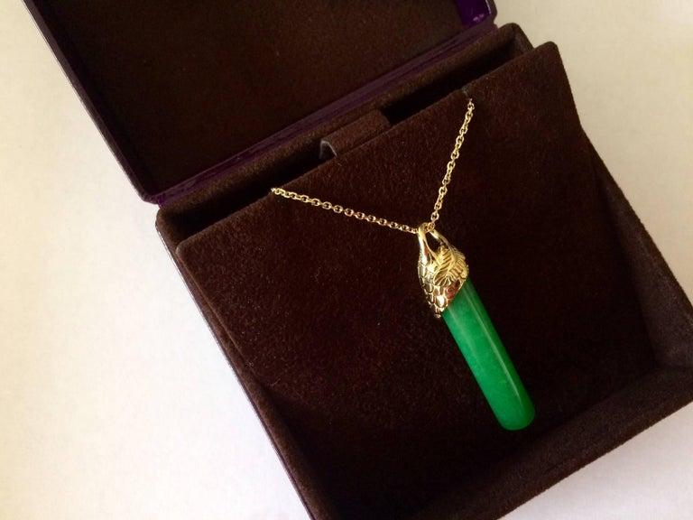 Ana De Costa Gold Jade Yellow Diamond Drop Pendant For Sale 2