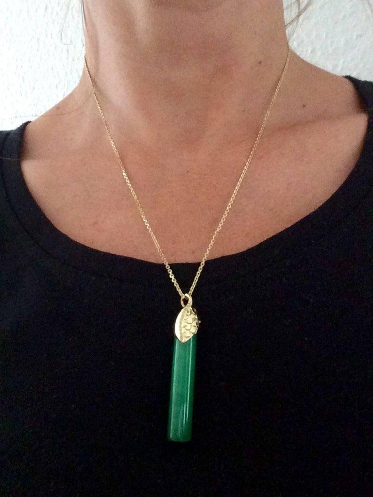Ana De Costa Gold Jade Yellow Diamond Drop Pendant For Sale 1