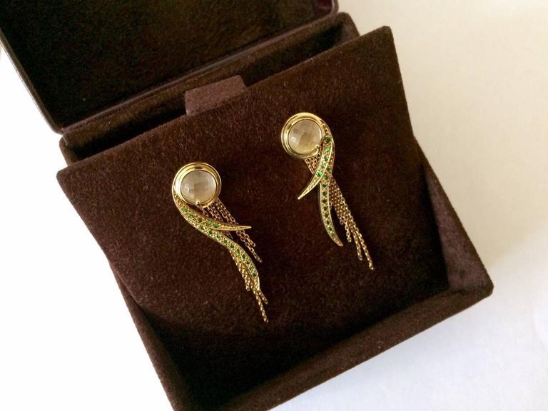 Ana De Costa Yellow Gold Round Green Tsavorite Rock Crystal Drop Chain Earrings For Sale 2