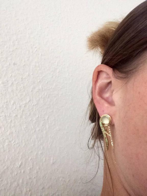 Ana De Costa Yellow Gold Round Green Tsavorite Rock Crystal Drop Chain Earrings For Sale 3