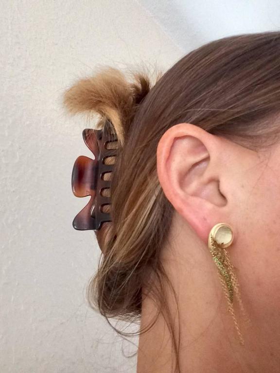 Ana De Costa Yellow Gold Round Green Tsavorite Rock Crystal Drop Chain Earrings For Sale 4