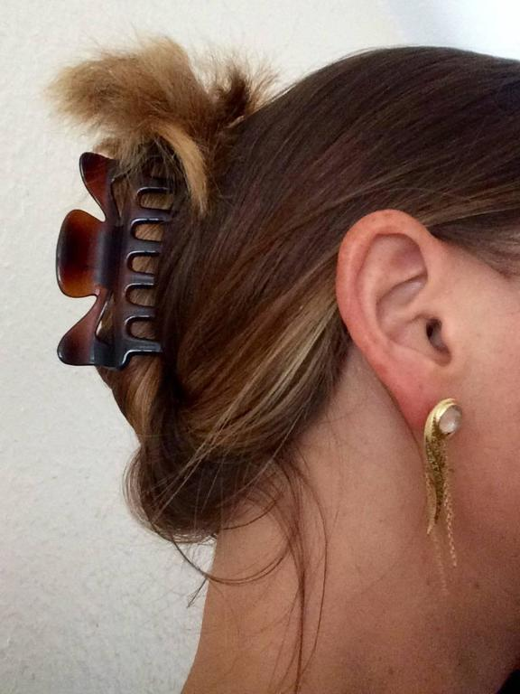 Ana De Costa Yellow Gold Round Green Tsavorite Rock Crystal Drop Chain Earrings For Sale 5