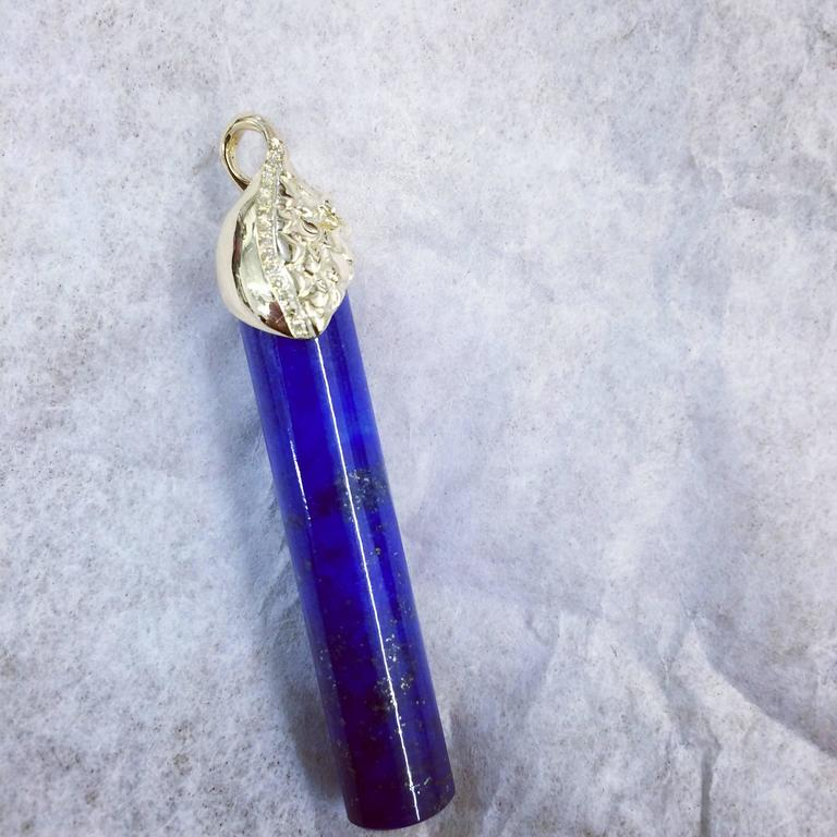 Ana De Costa Gold Lapis Lazuli Yellow Diamond Drop Pendant 2