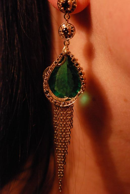 Ana De Costa Gold Emerald Cognac Diamond Drop Earrings 4
