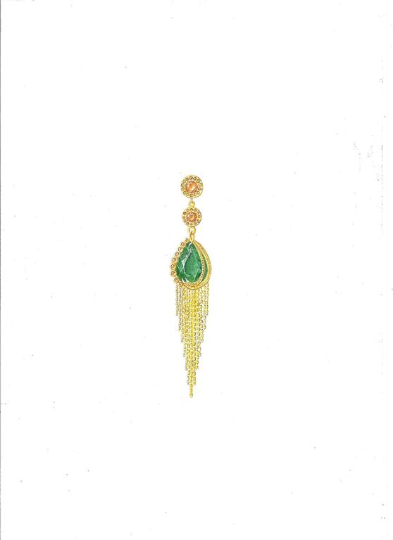 Ana De Costa Gold Emerald Cognac Diamond Drop Earrings 3