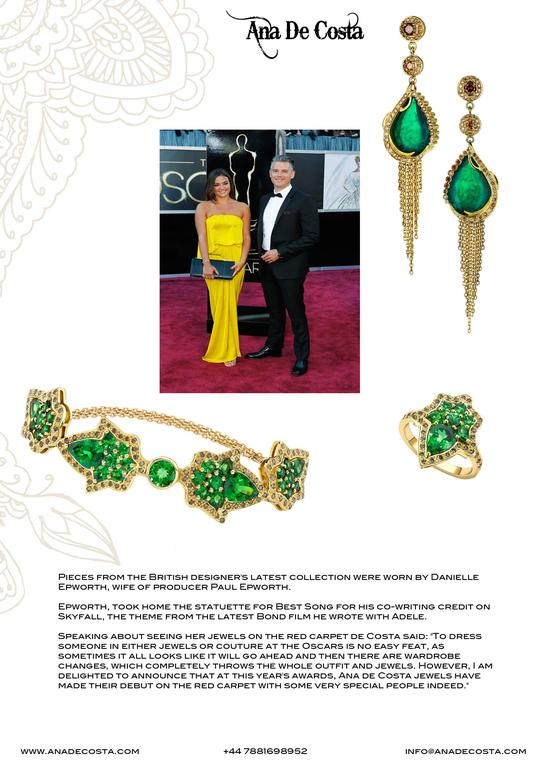 Ana De Costa Gold Emerald Cognac Diamond Drop Earrings 6