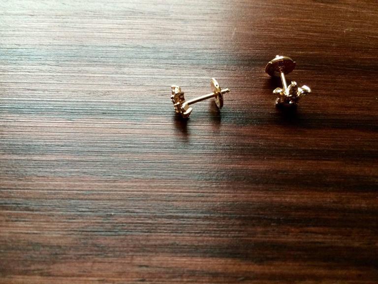 Ana de Costa Cognac Diamond Gold Flower Stud Earrings 3