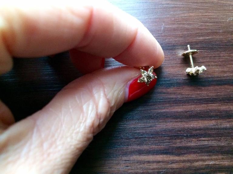 Ana de Costa Cognac Diamond Gold Flower Stud Earrings 4