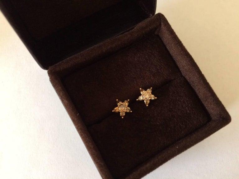 Ana de Costa Cognac Diamond Gold Flower Stud Earrings 10